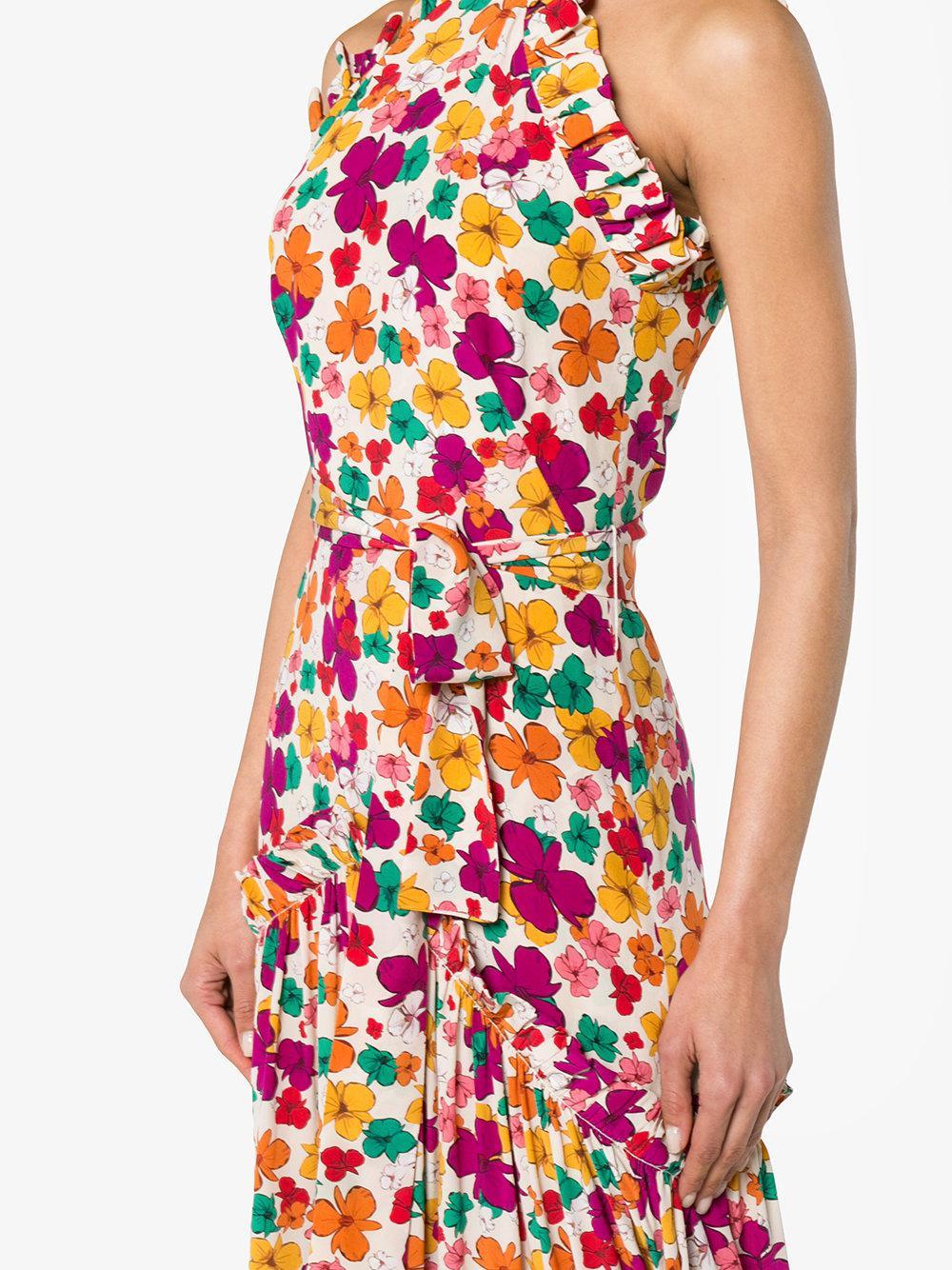 Silk floral high neck maxi dress Borgo De Nor wRjb8