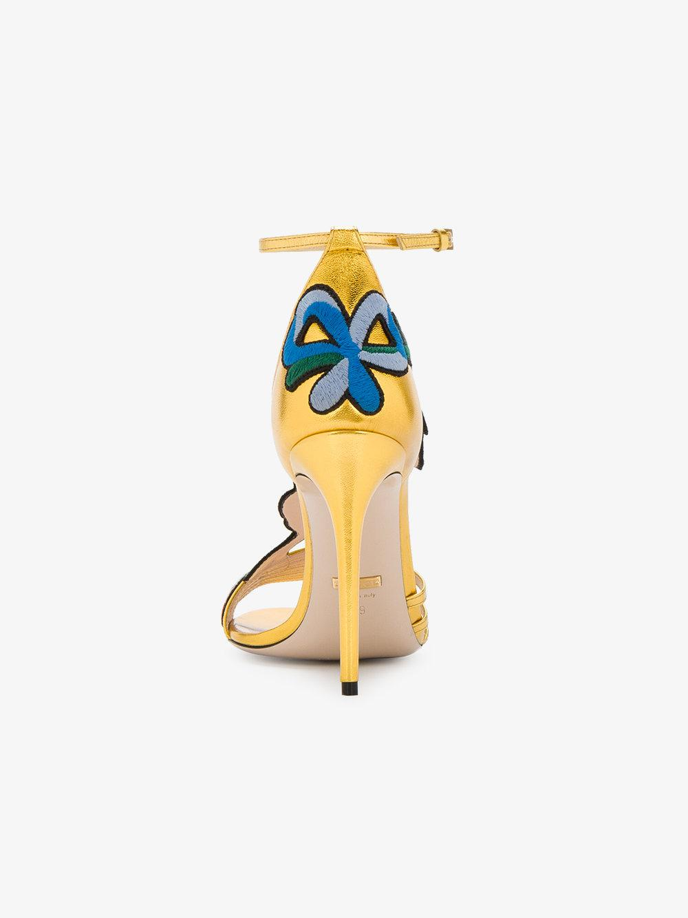 7d537996a Gucci Gold Ophelia 110 Leather Sandals in Green - Lyst
