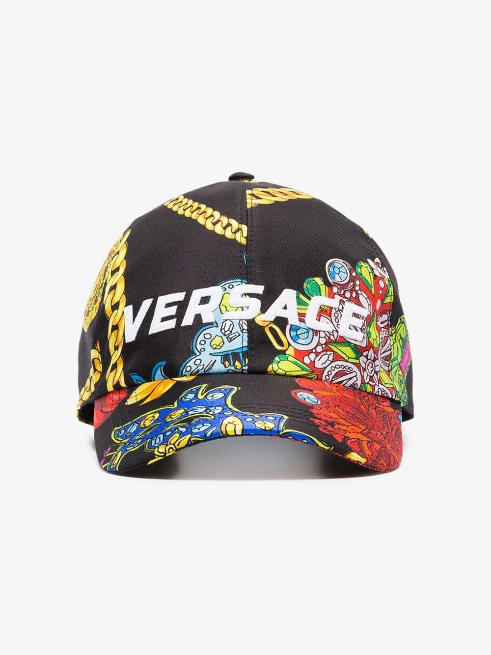 81bb5ca7 Versace Multicoloured Logo Embroidered Jewellery Print Silk Baseball Cap in  Black for Men - Lyst