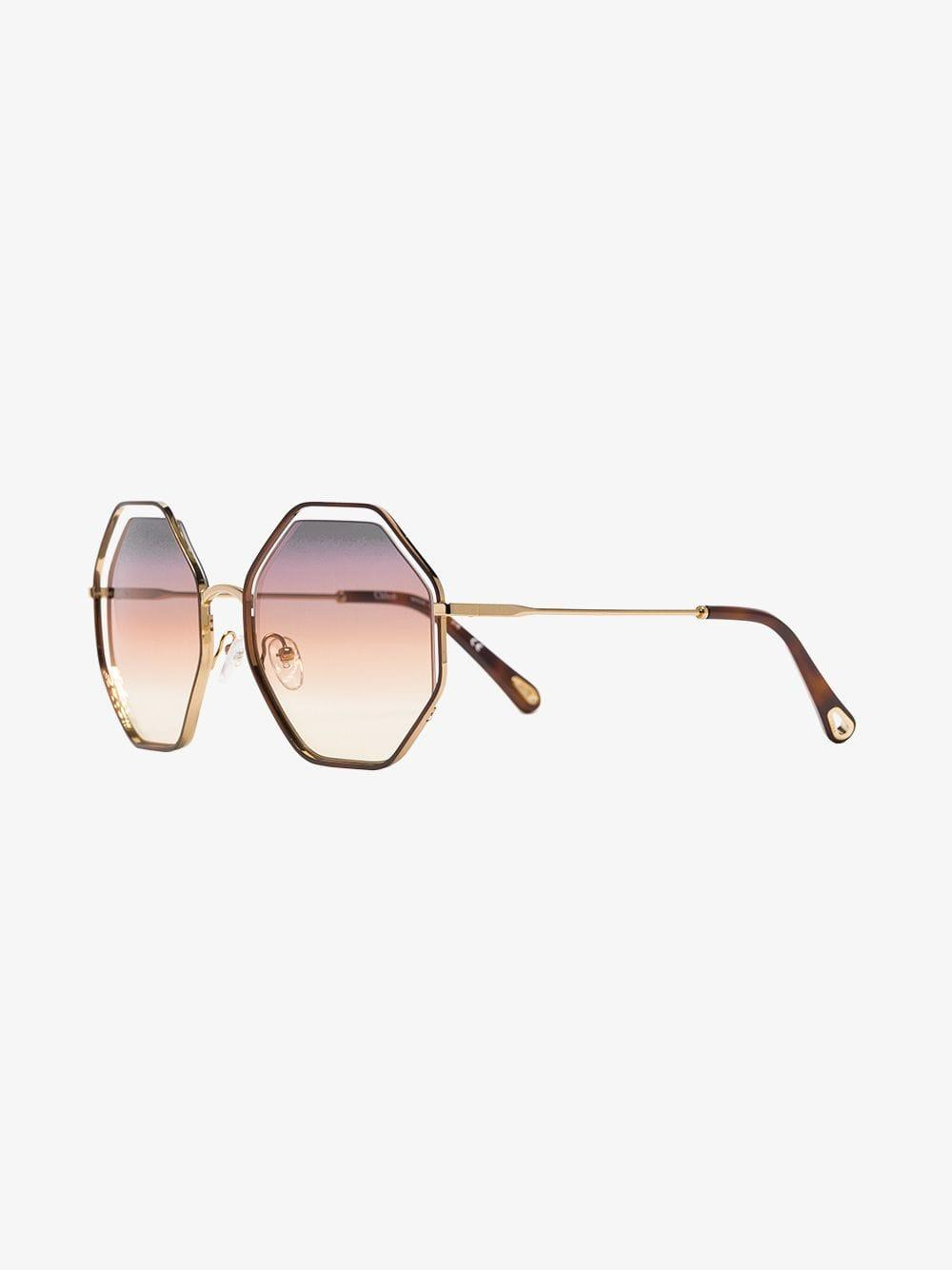 bc3a0f08a59e Lyst - Chloé Brown And Purple Poppy Hexagon Sunglasses in Brown