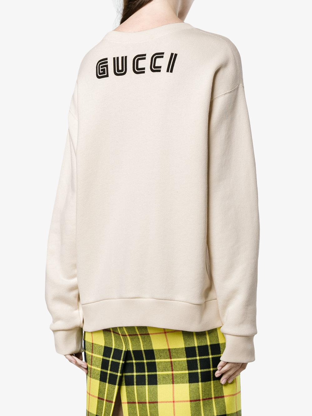 85e636ab634 Lyst - Gucci Sequin Snow White Sweatshirt in Natural