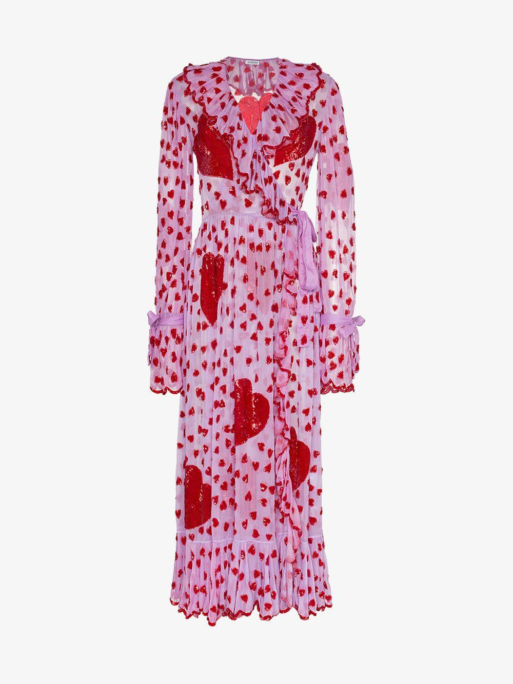 c970c101 Ashish Sequin Heart Embellished Maxi Wrap Dress in Pink - Lyst