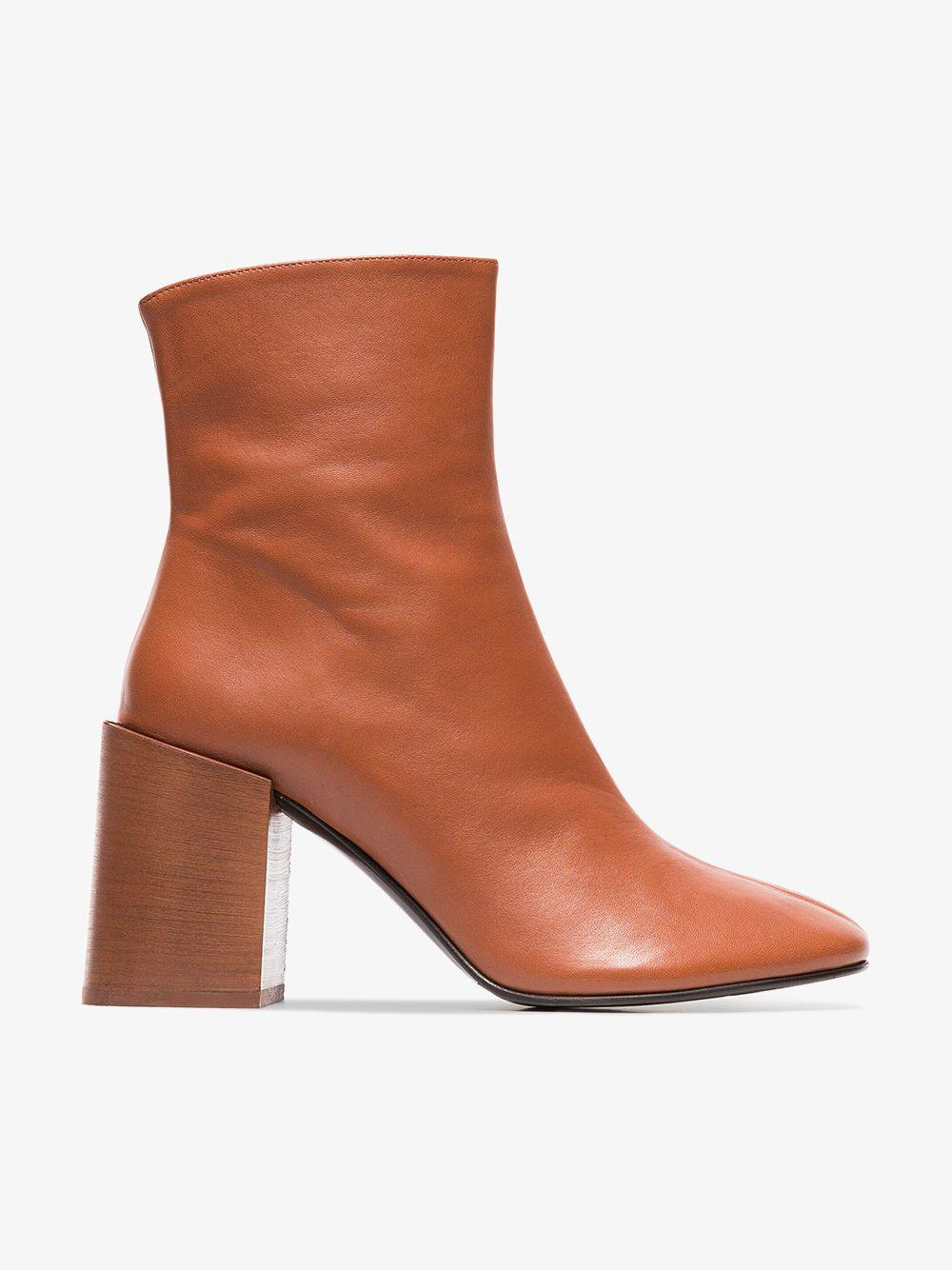 ab4f50dbaf57 Lyst - Acne Studios Saul 80 Leather Logo Ankle Boots in Brown