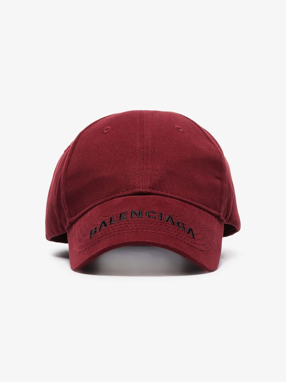 18aa3d2048552 Lyst - Balenciaga Burgundy Logo Embroidered Baseball Cap in Red for Men