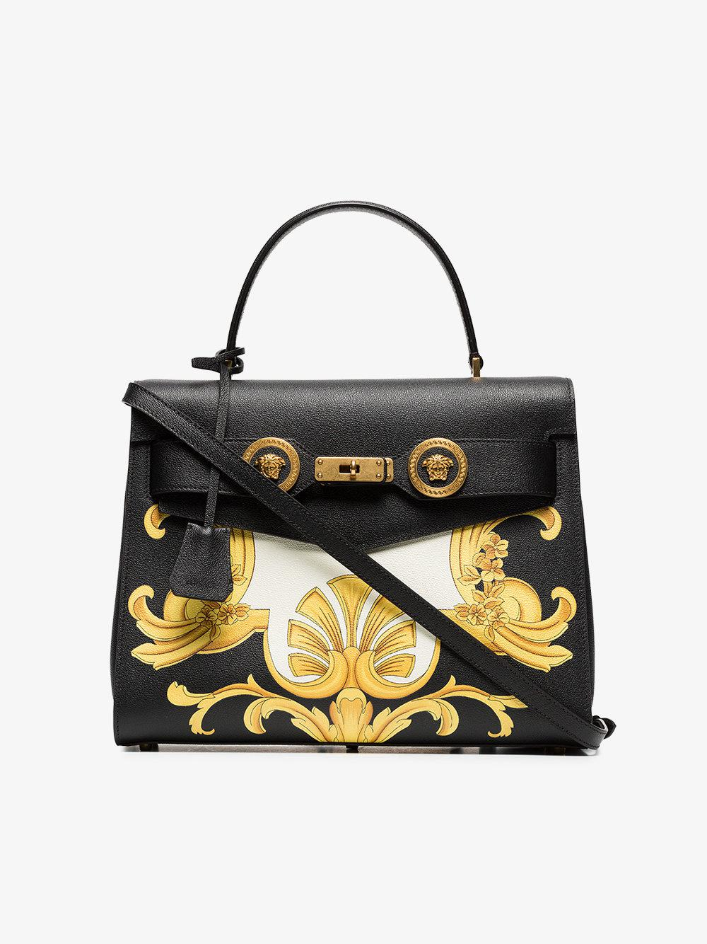 icon white black barocco and leather print bag Versace yellow HZYqxF ... d2ad917fc74