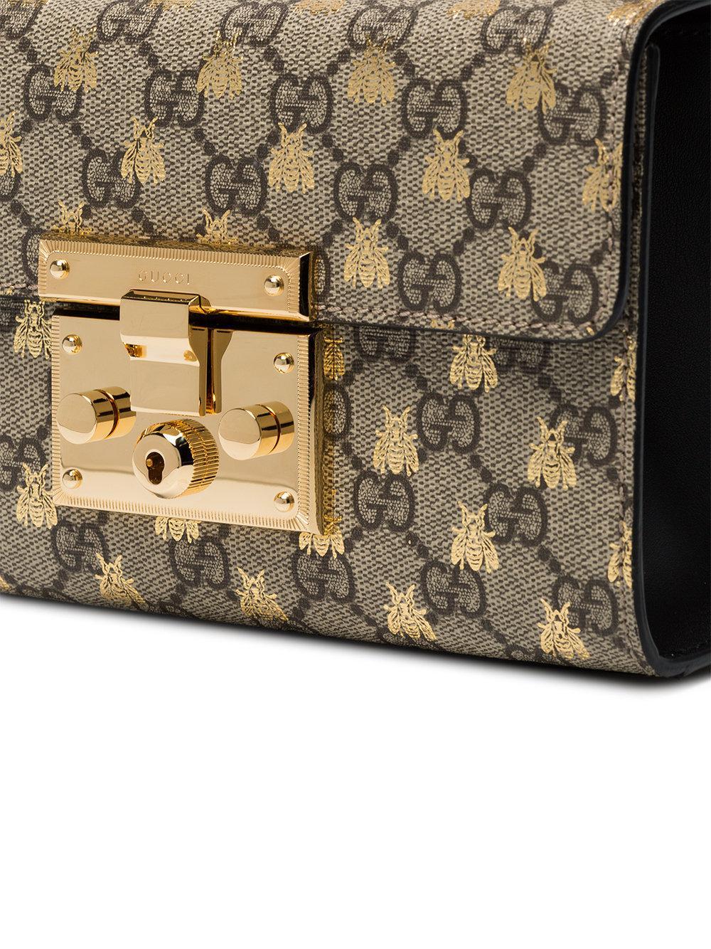110b00902106 Gucci Padlock Small Gg Bees Shoulder Bag - Lyst