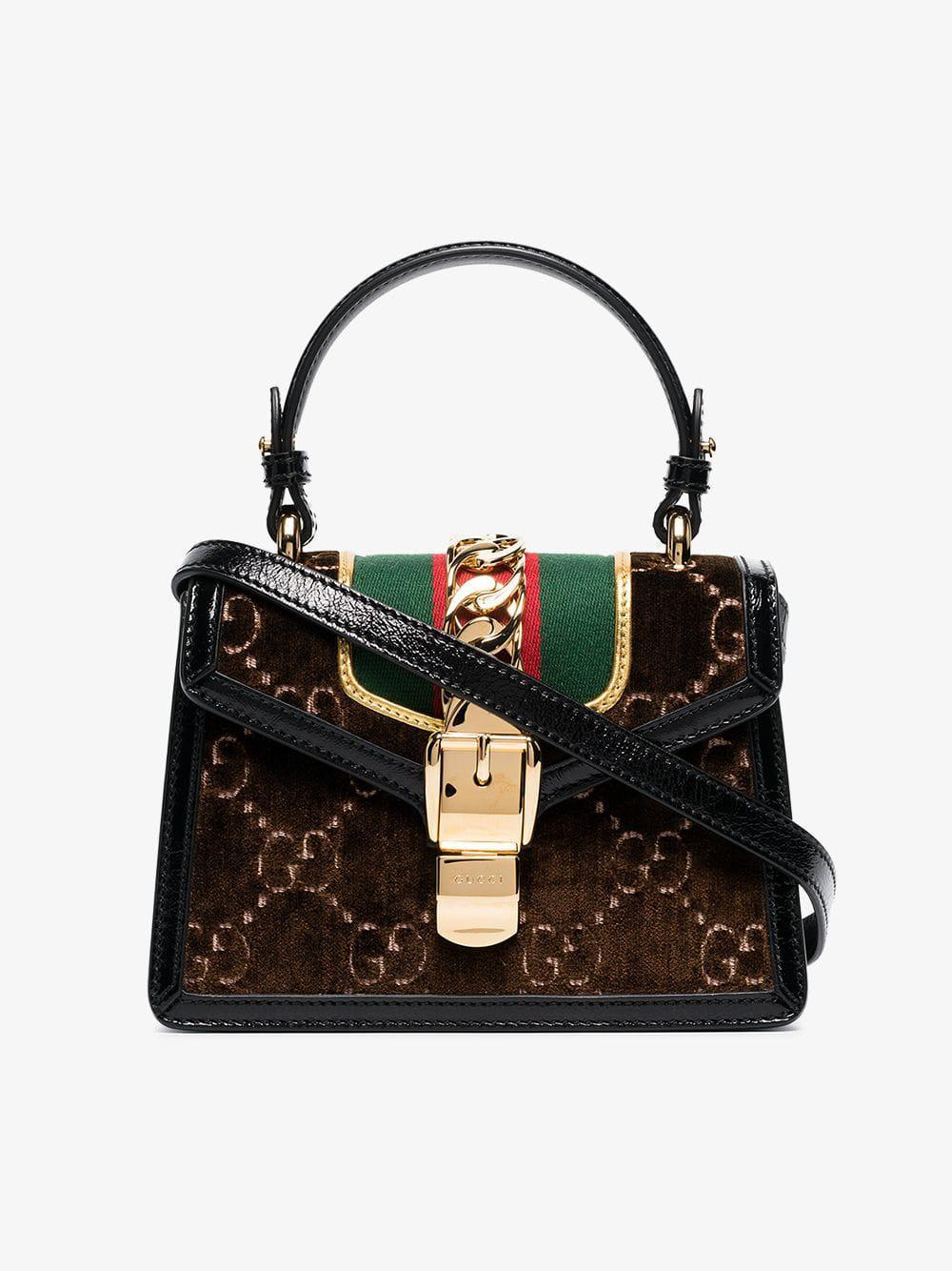 5c7611d243d7a7 Gucci Brown Sylvie GG Velvet Mini Bag in Brown - Lyst