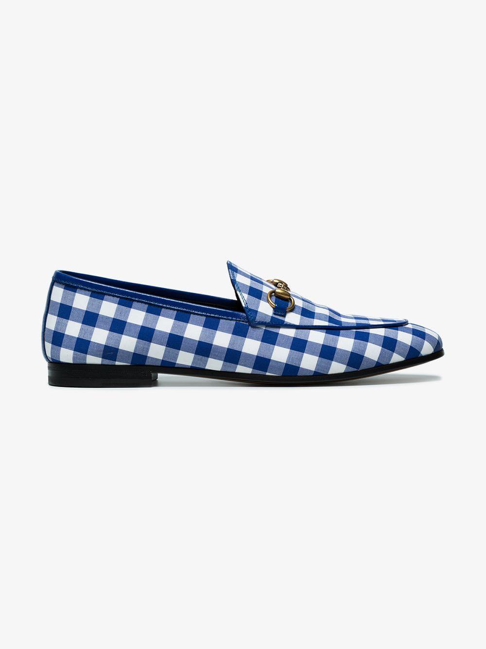 f5f3b92a950 Gucci Jordaan Horsebit Gingham Loafers in Blue - Lyst