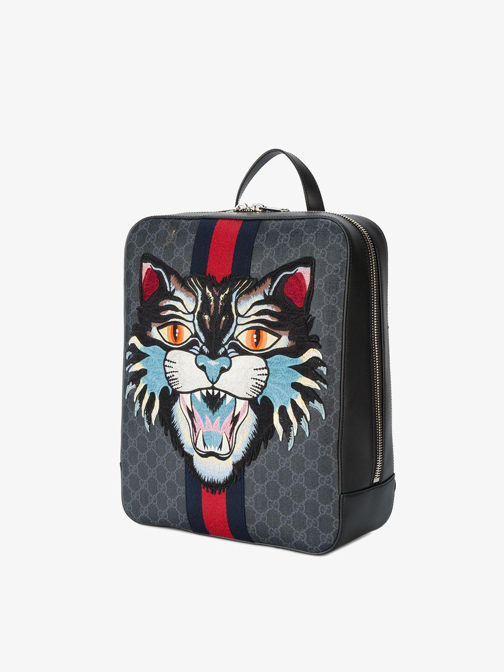 194ca4e0b8f Lyst - Gucci Angry Cat Gg Supreme Backpack in Black for Men