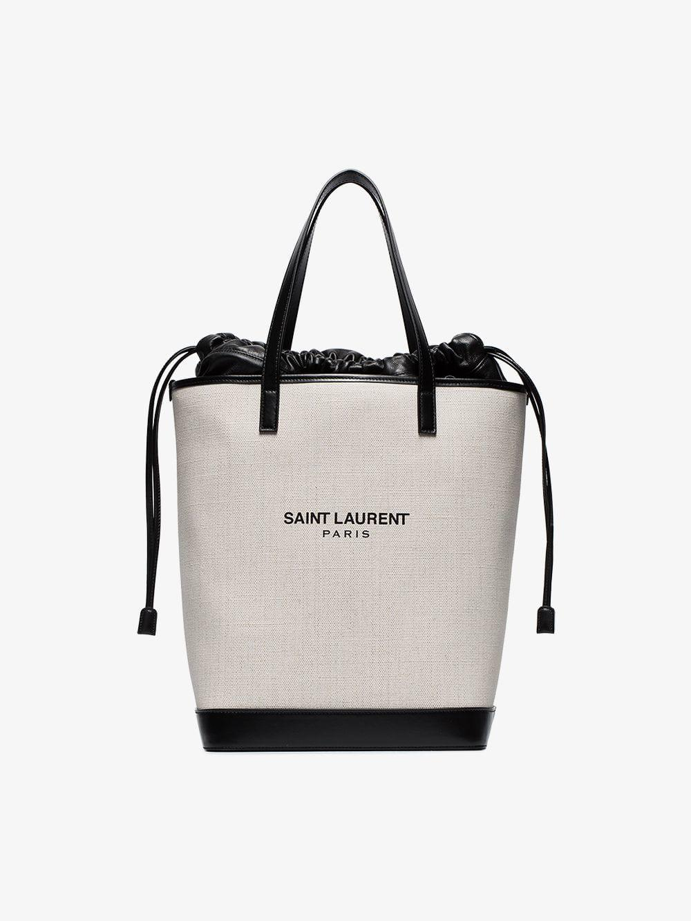 319271d3d3394 Lyst - Saint Laurent White And Black Teddy Canvas Bag in White ...