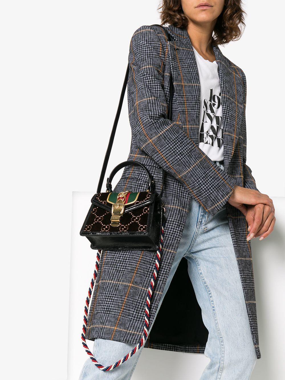 d7895ce2a571b8 Gucci - Brown Sylvie GG Velvet Mini Bag - Lyst. View fullscreen