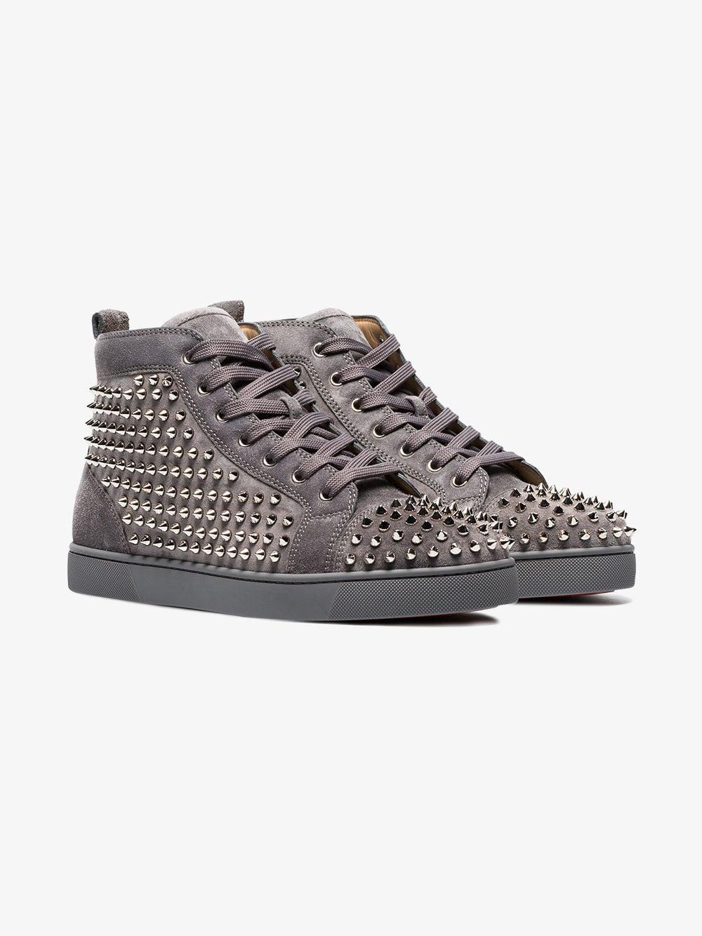 c004f435eb25 Lyst - Christian Louboutin Shadow Grey Louis Studded Suede Hi Top ...