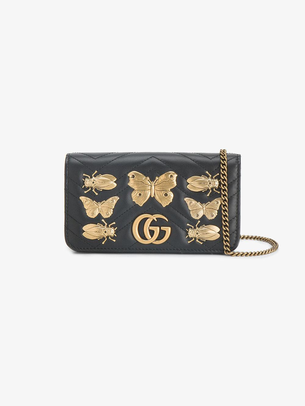 1831249dc871 Lyst - Gucci Gg Marmont Animal Studs Mini Bag in Black