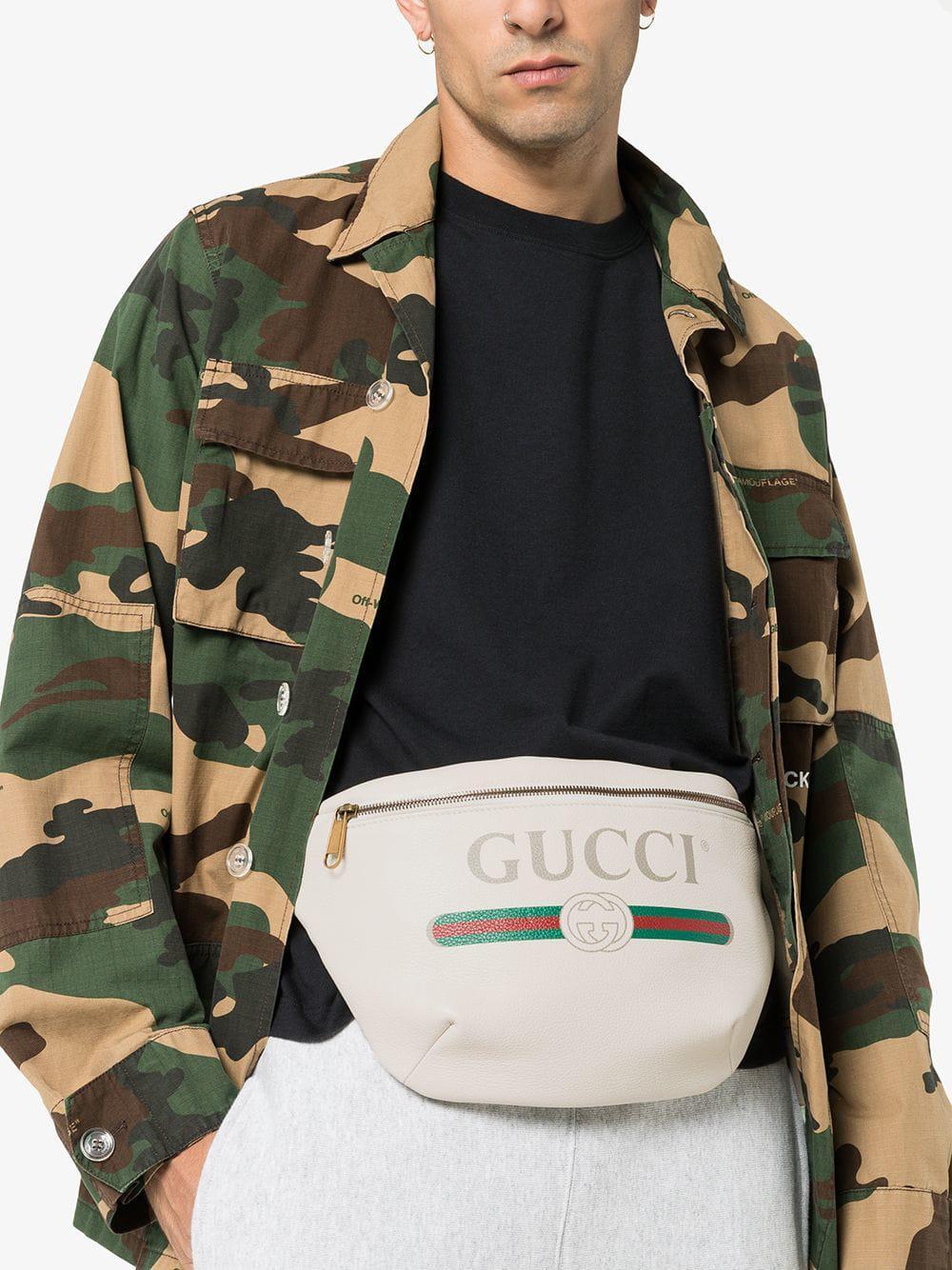b912e9aa3cfe Gucci - Multicolor White Print Leather Belt Bag for Men - Lyst. View  fullscreen