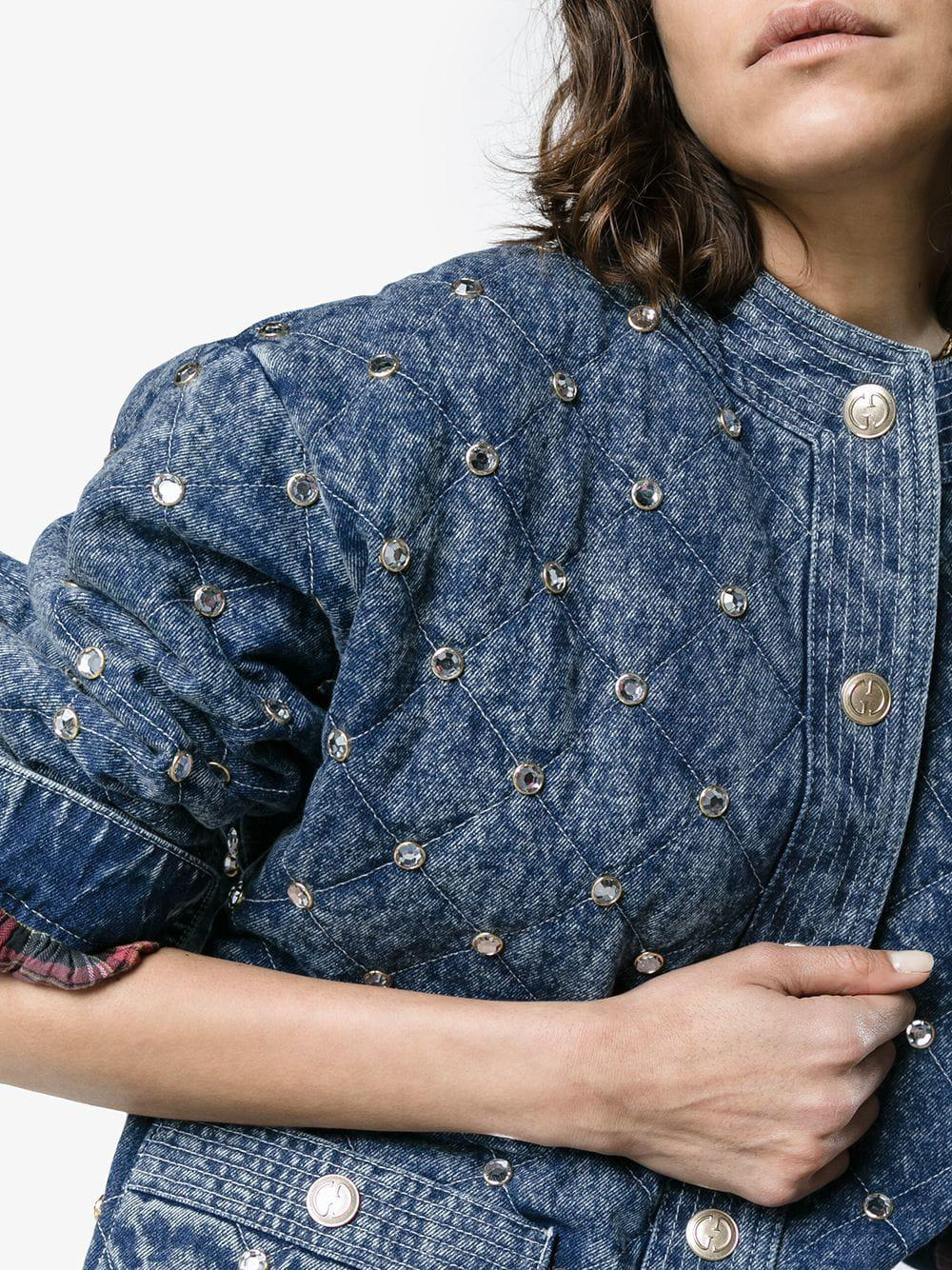 7f862d062 Gucci - Blue Quilted Marble Denim Jacket With Crystals - Lyst. View  fullscreen