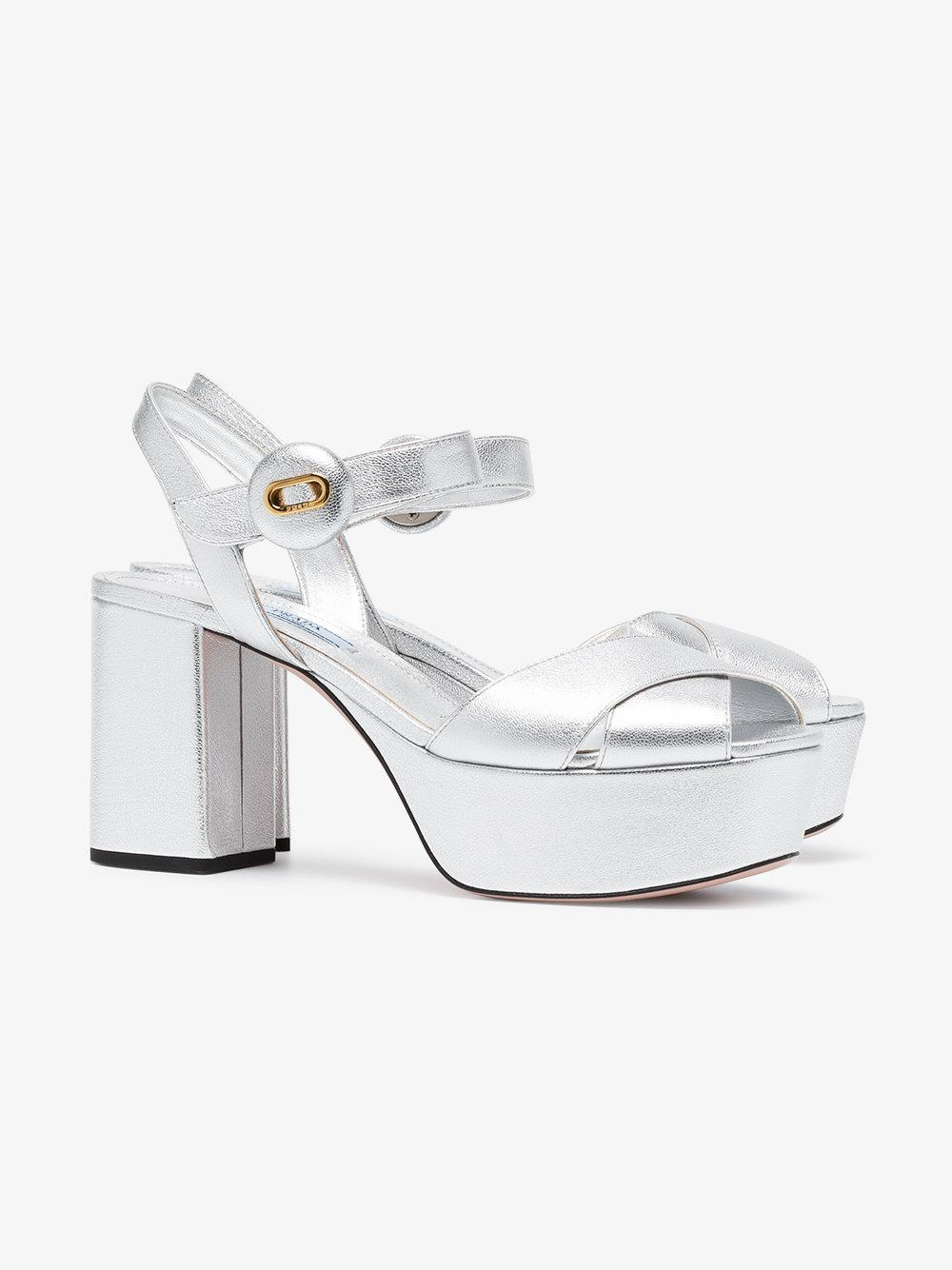 dc25655543e Lyst - Prada Silver 85 Leather Platform Sandals in Yellow