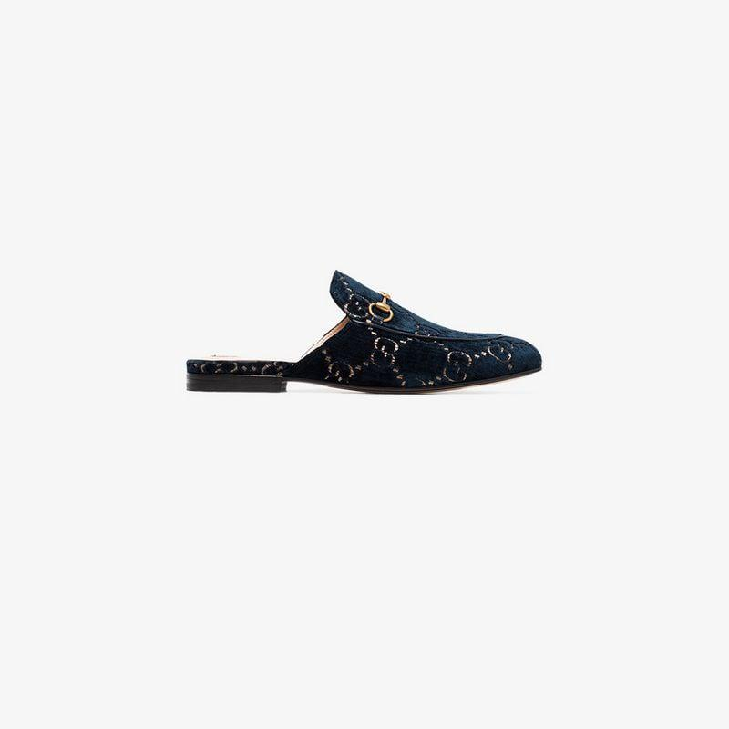 5bcb7b7de3a Gucci Gg Princetown Velvet Backless Loafers in Blue - Lyst