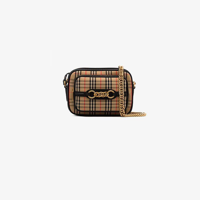 40c4636525 Lyst - Burberry Check Print Leather Cross Body Bag in Black