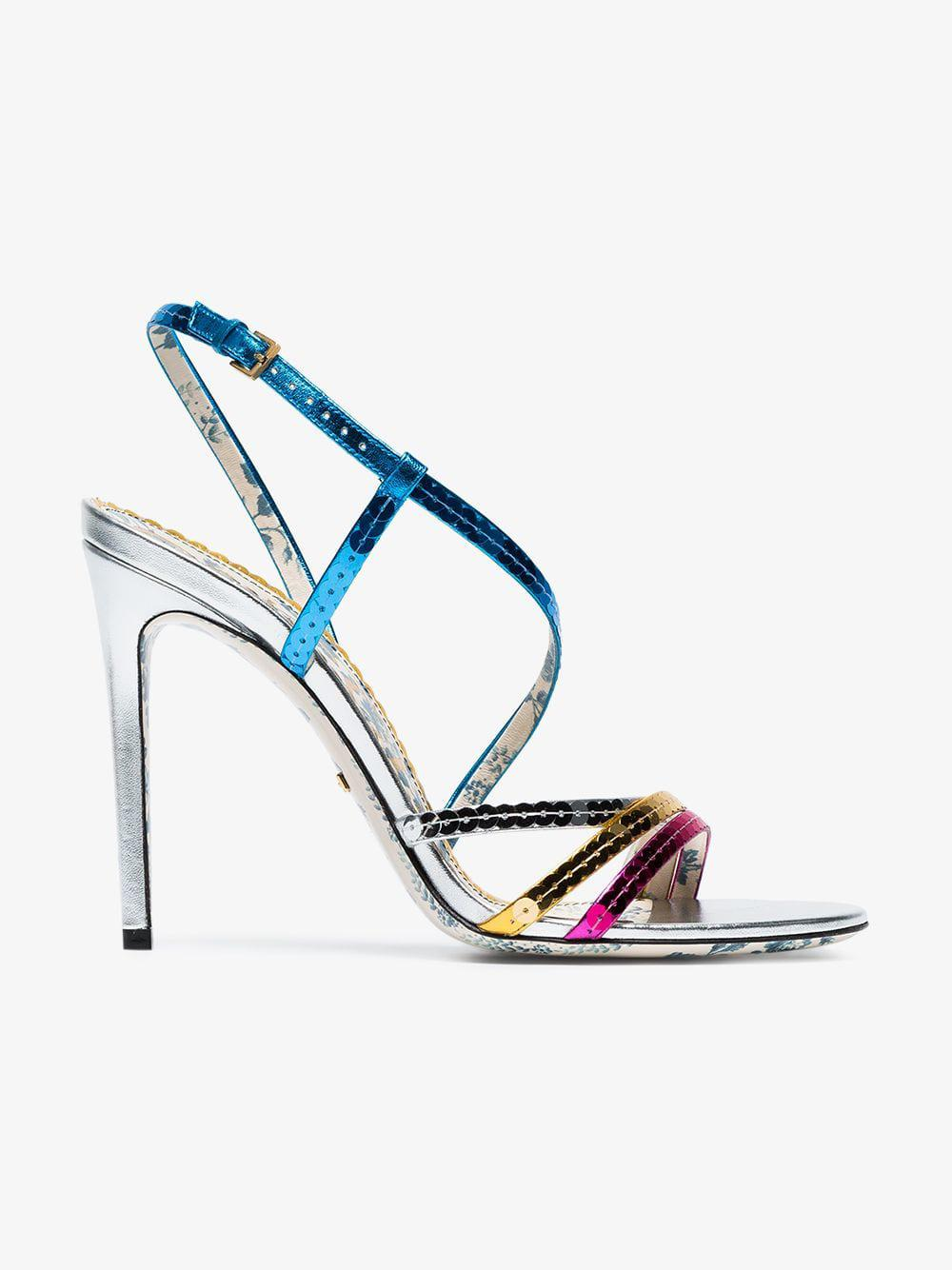 c76fbb4d440 Lyst - Gucci Metallic Leather Sandals With Sequins in Metallic