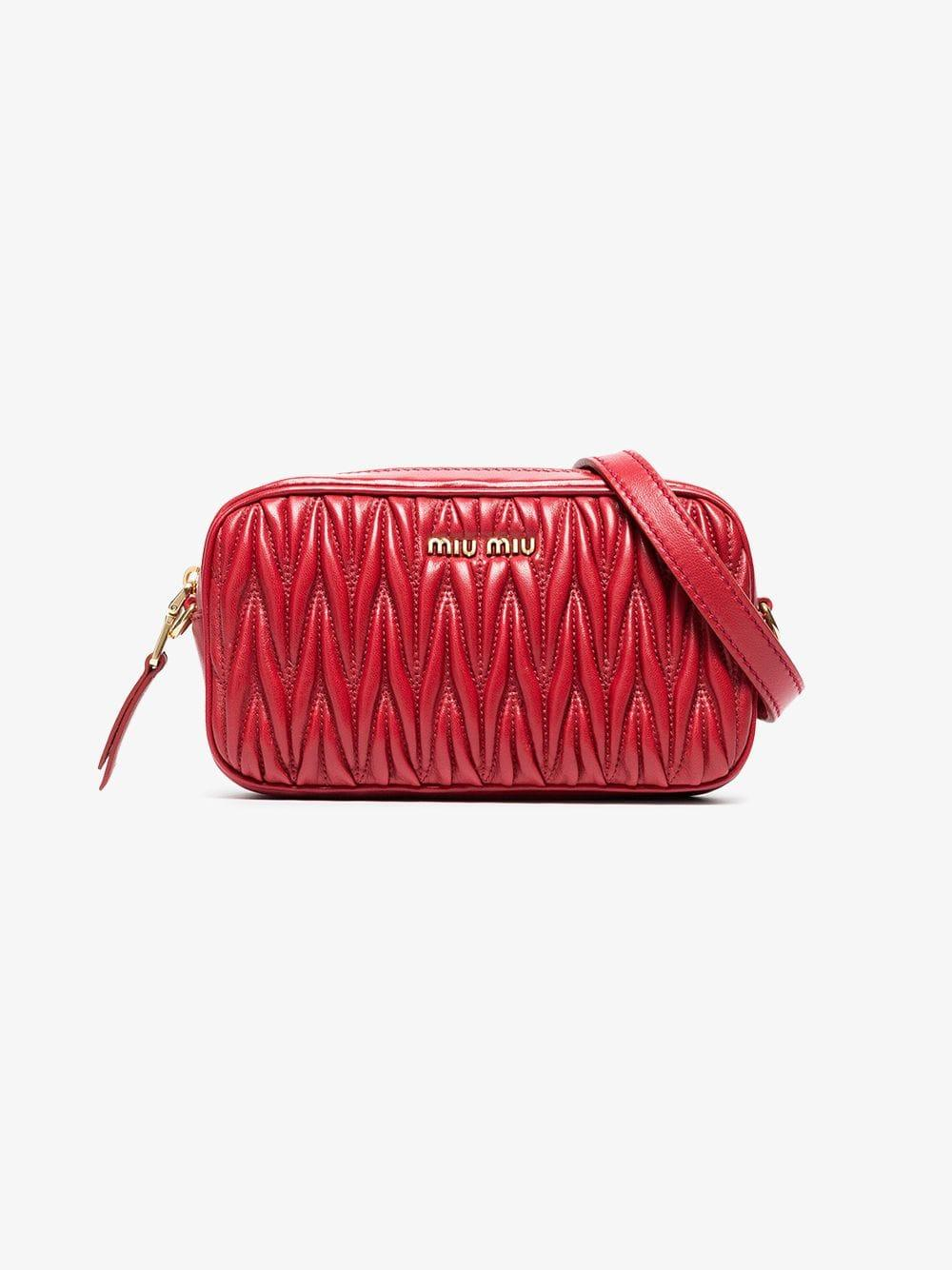 7449a4c9dc7 Lyst - Miu Miu Matelassé Leather Belt Bag in Red