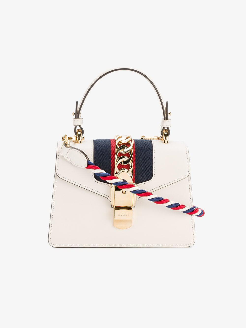 468c2da3d30942 Lyst - Gucci Sylvie Leather Shoulder Bag in White