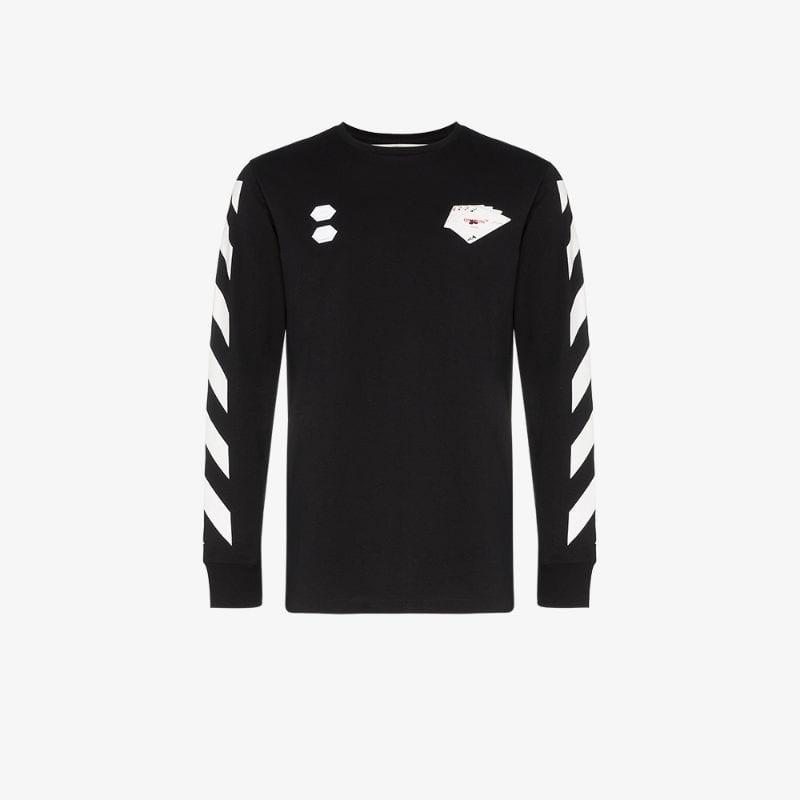fa0c4a56e6d Off-White c/o Virgil Abloh. Men's Black Hand Diagonal Stripe Print Cotton  T-shirt
