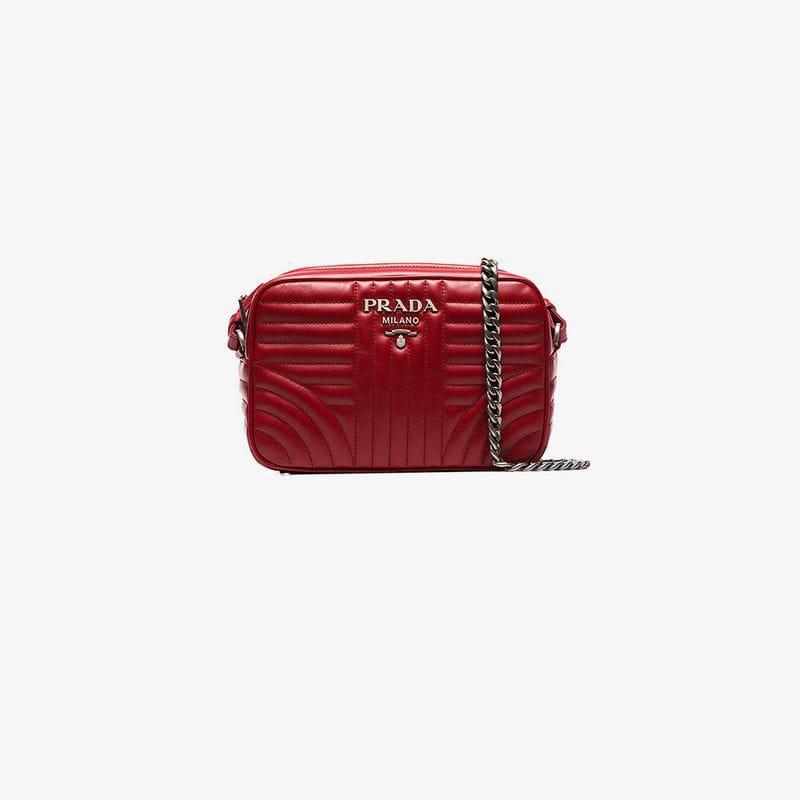 cb005d9dfae526 Prada Red Diagram Medium Quilted Leather Cross Body Bag in Red - Lyst