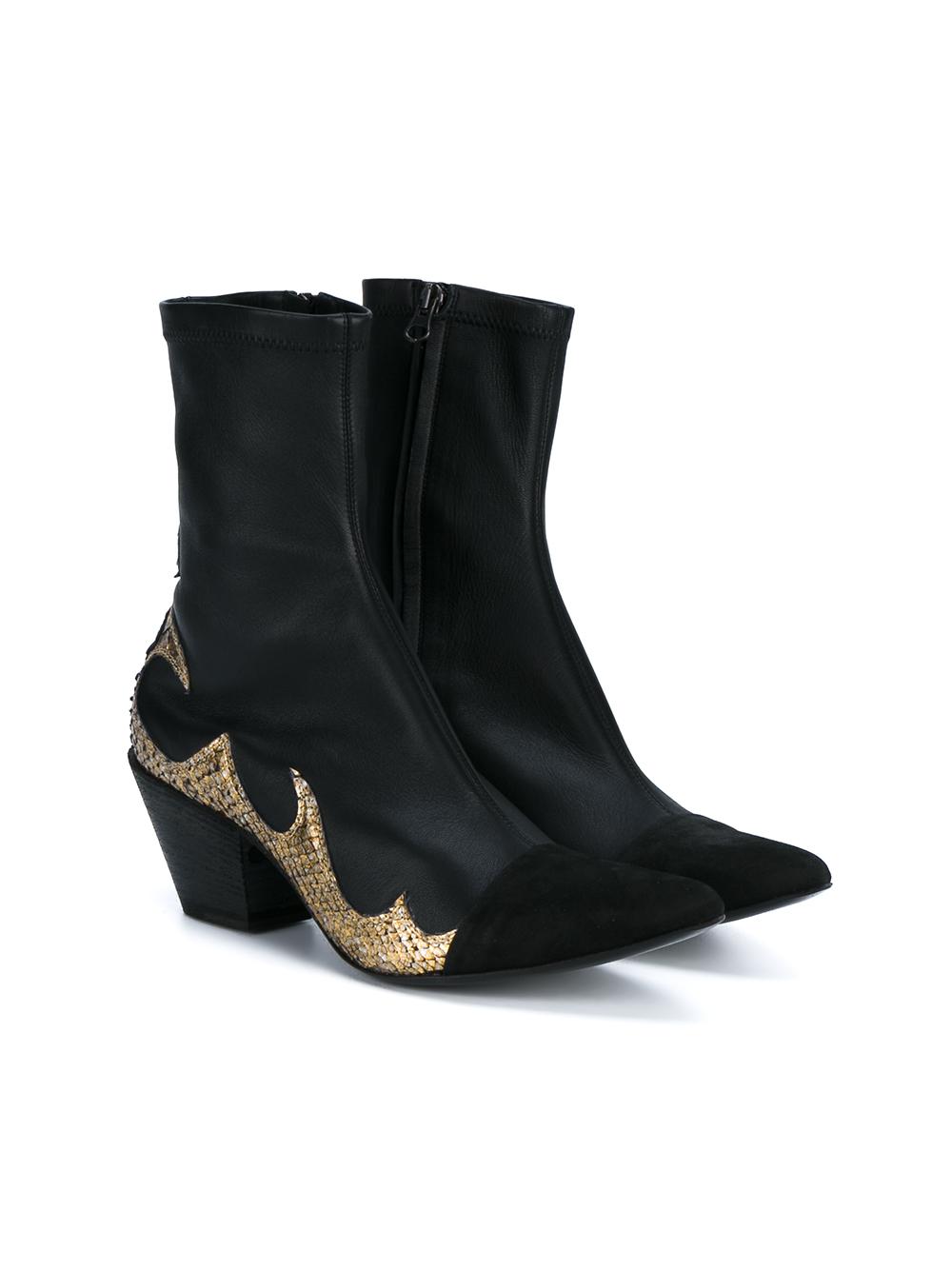 haider ackermann leather cowboy boots in metallic lyst