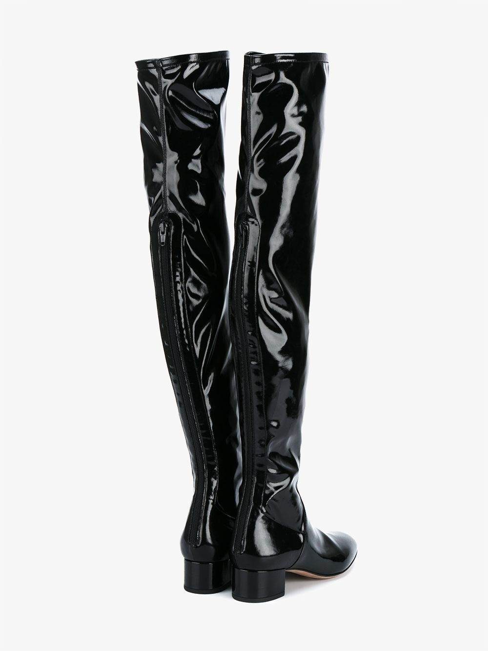 Valentino Patent Leather Over The Knee Boots In Black Lyst