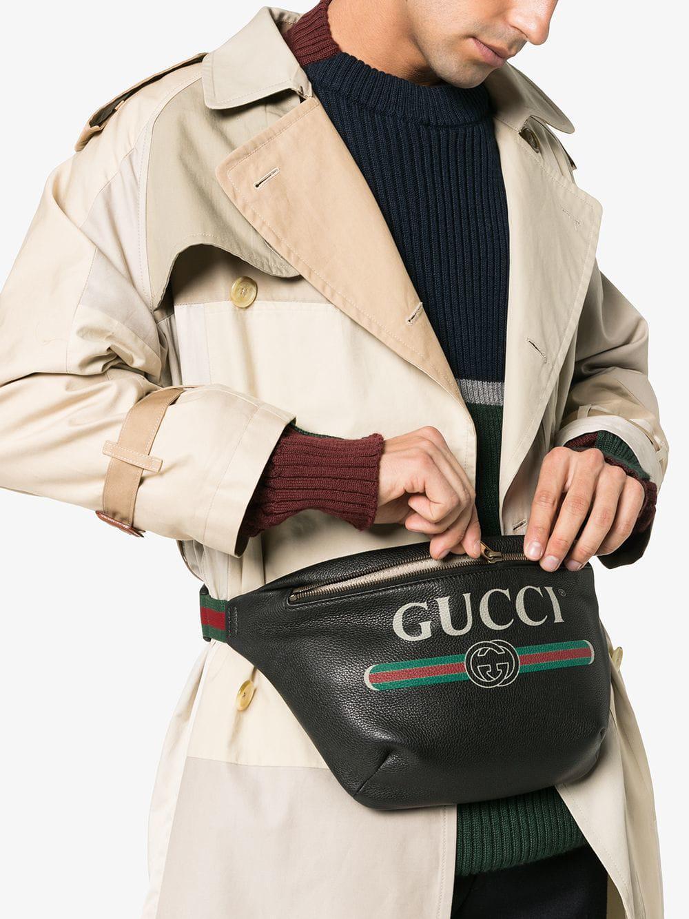 e88496e6c5e Gucci - Black Print Leather Belt Bag for Men - Lyst. View fullscreen