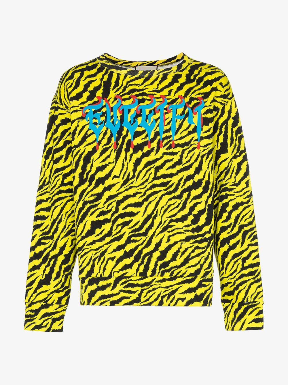 1a583a4ef Lyst - Gucci Sweatshirt With Metal Fy Print in Yellow for Men