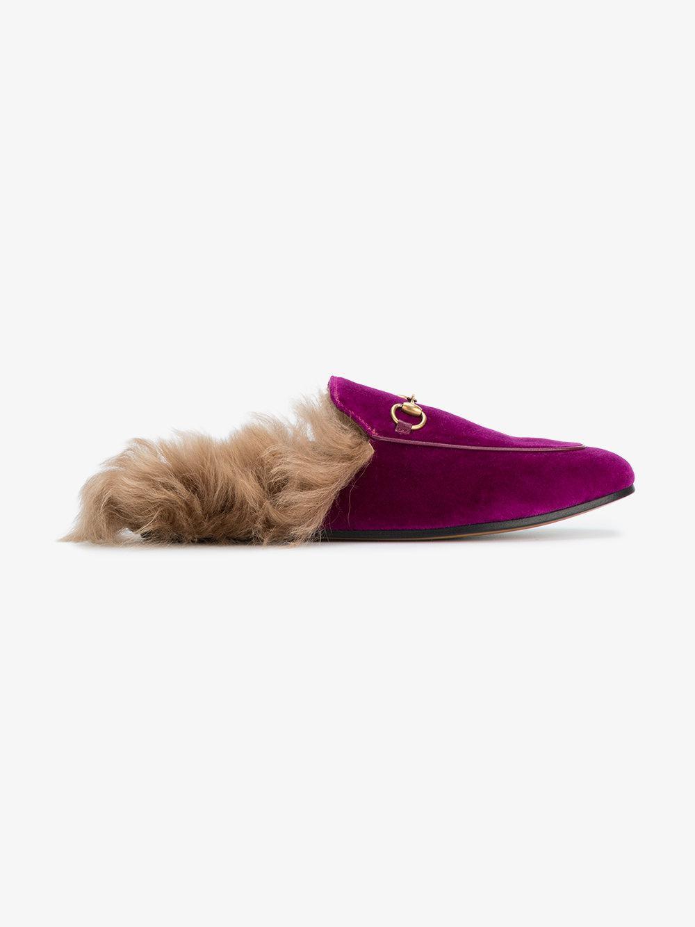 Purple Princetown Fur lined Leather Mules - Pink & Purple Gucci MomuEk