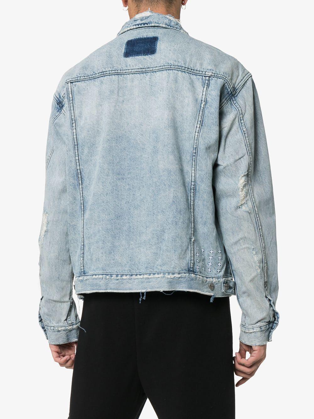 f2c9ed2982 Ksubi - Blue Oh G Distressed Denim Jacket for Men - Lyst. View fullscreen