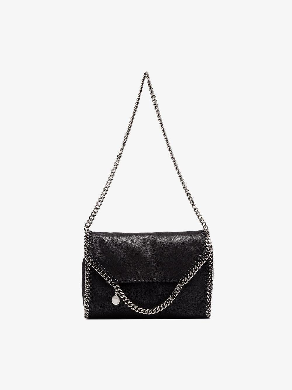 902786edfaf5 Lyst - Stella McCartney Black Falabella Big Chain Trim Shoulder Bag ...