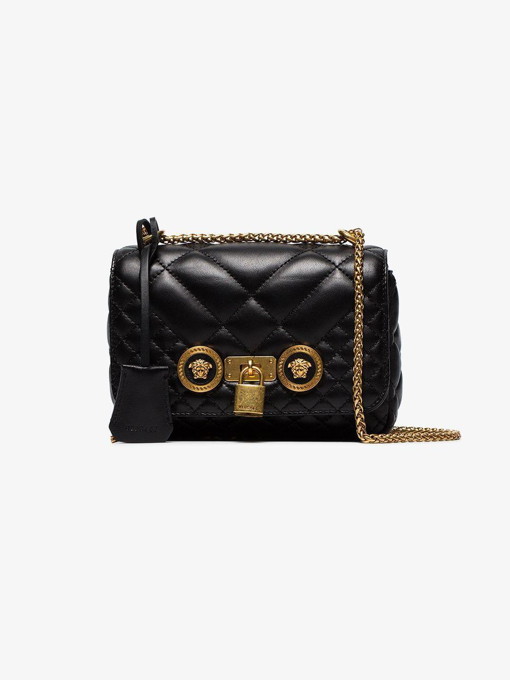 a0399fedb921 Lyst - Versace Black Small Quilted Leather Shoulder Bag in Black