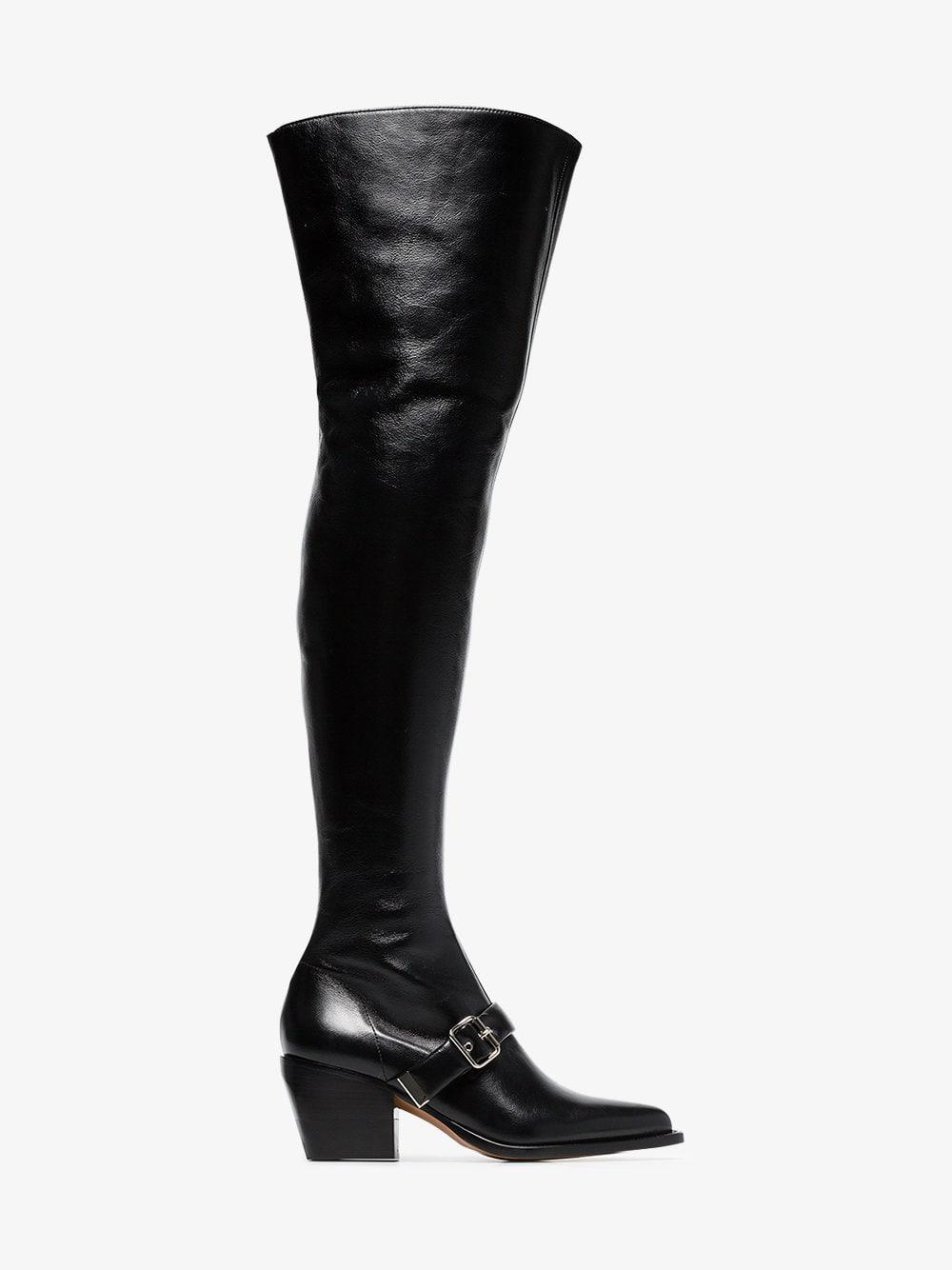 35fc81c5d34 Chloé Black Over The Knee 80 Leather Boots in Black - Lyst