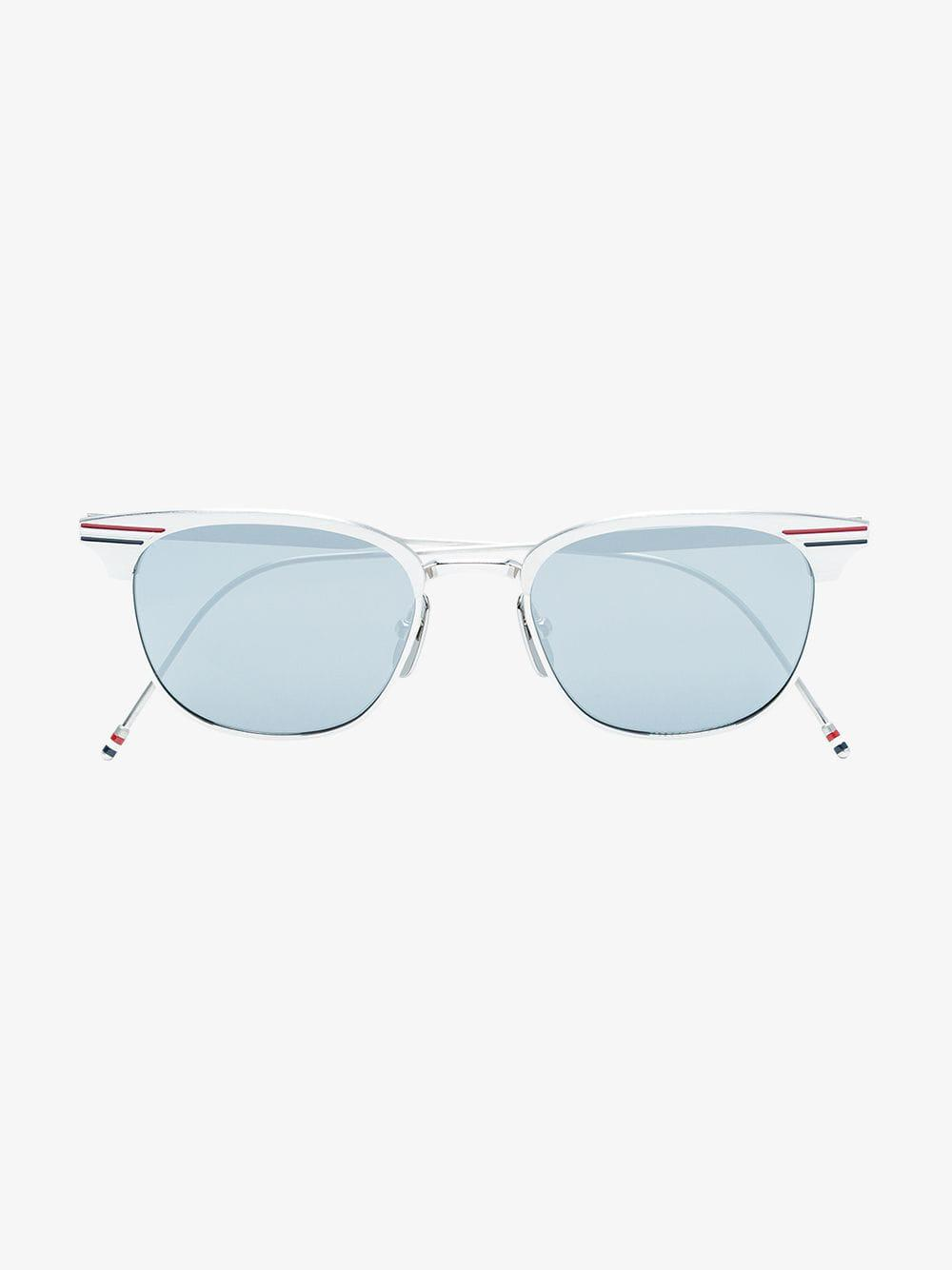 78b01531aa6 Thom Browne - Grey Metallic Sunglasses With Tricolour Stripe for Men - Lyst.  View fullscreen
