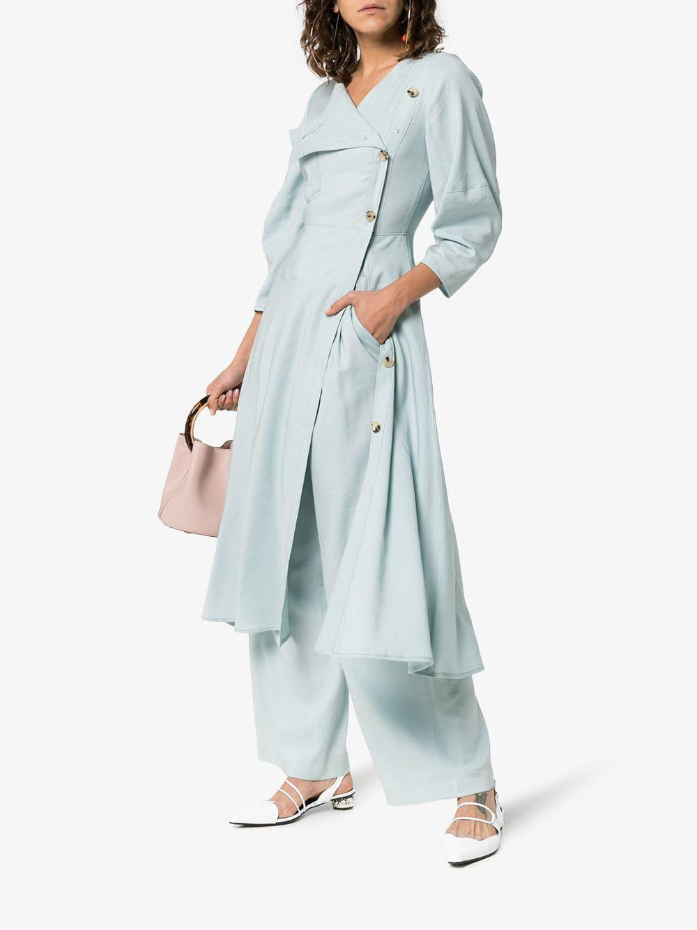 ab2ec589cfa Lyst - Rejina Pyo Button Down Linen Midi Dress in Blue - Save 3%