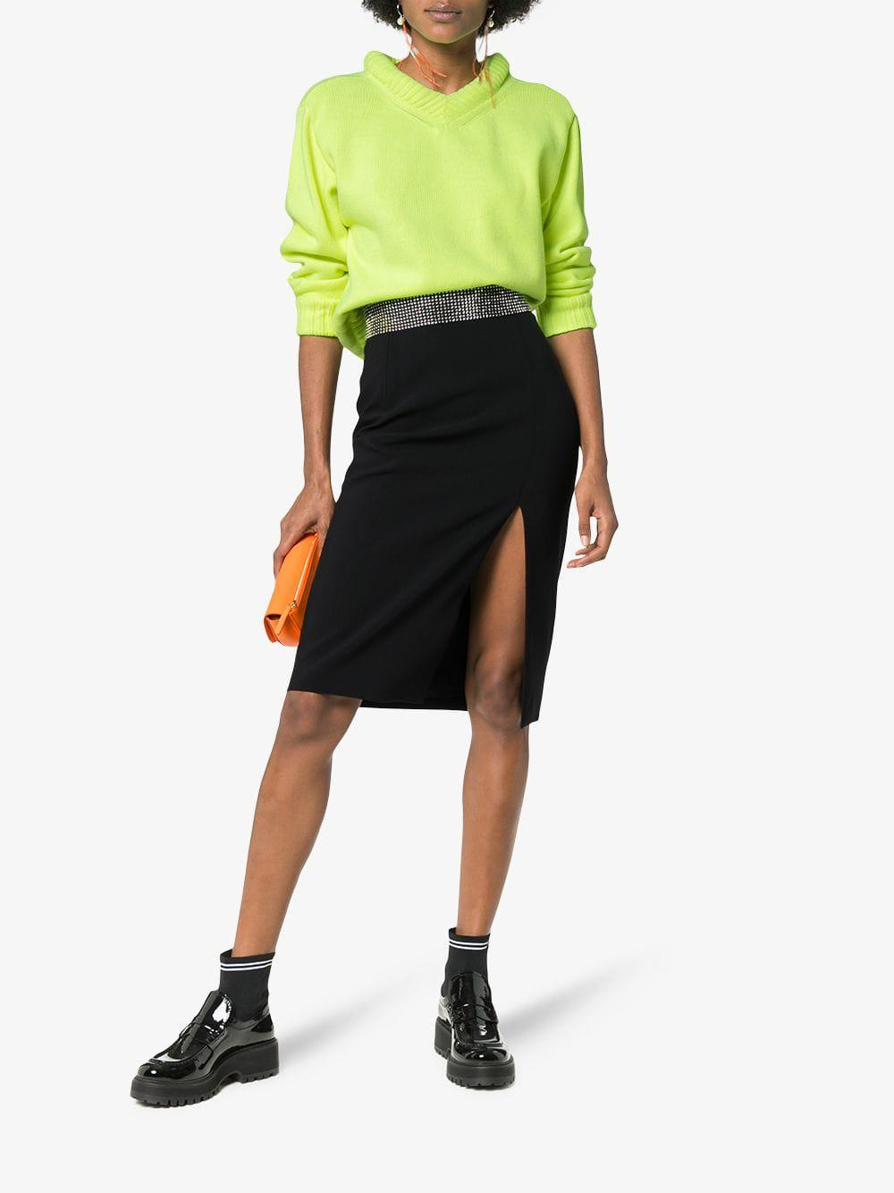 a6b5abaab8 Lyst - Christopher Kane High-waisted Crystal Embellished Skirt in Black -  Save 3%