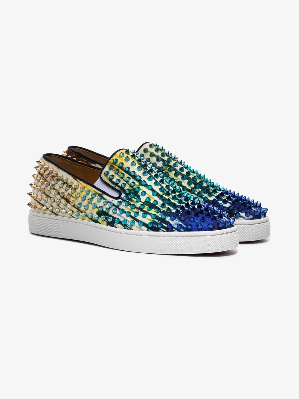 7bbbf0e1da30 christian-louboutin-multicolour-Blue-Roller-Boat-Spike-Low-Top-Sneakers.jpeg