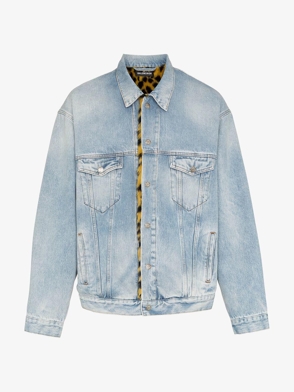 Lyst Men Print View Leopard Lined Jacket Balenciaga Blue Denim For Faux Fullscreen 8wz4ESUx
