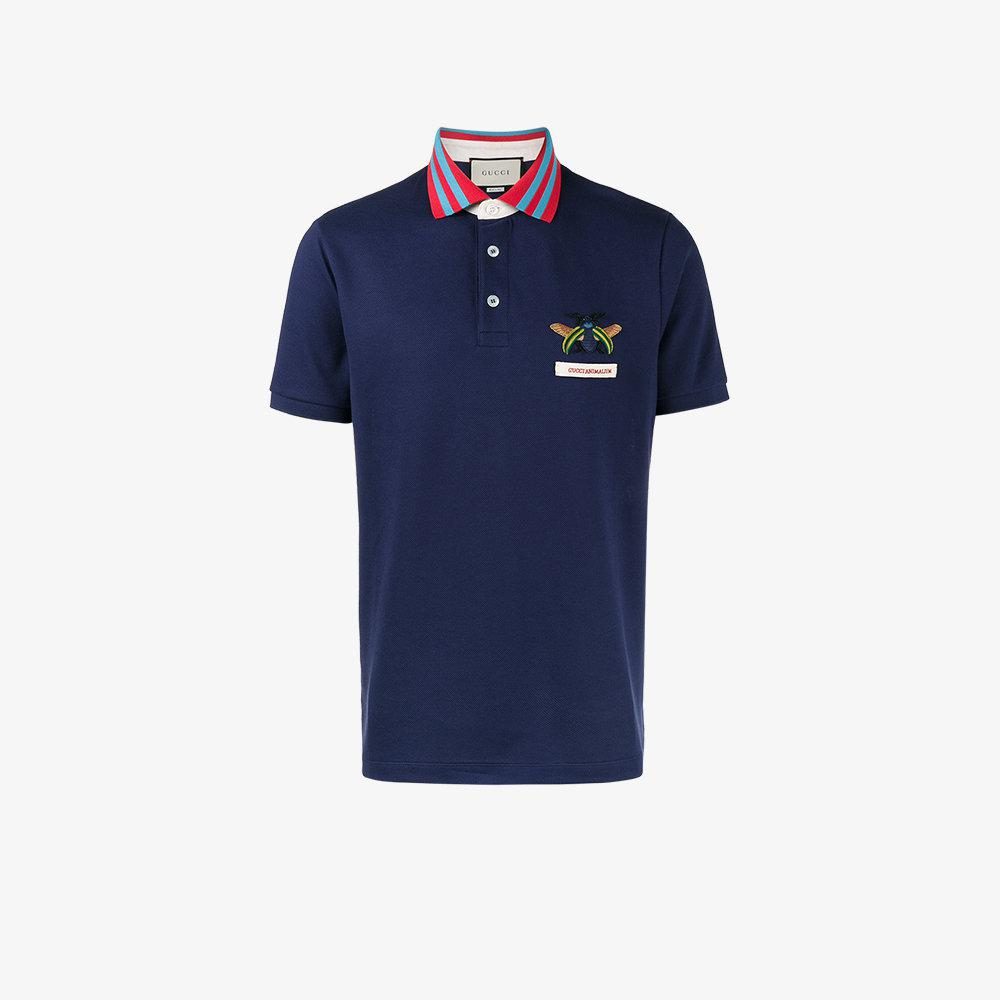383a58cb Gucci Bee Embroidered Polo Shirt in Blue for Men - Lyst
