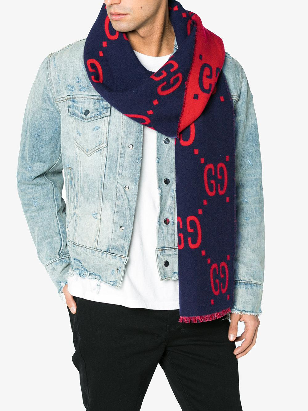 336746f0c11a Gucci Gg Supreme Print Scarf in Blue for Men - Lyst