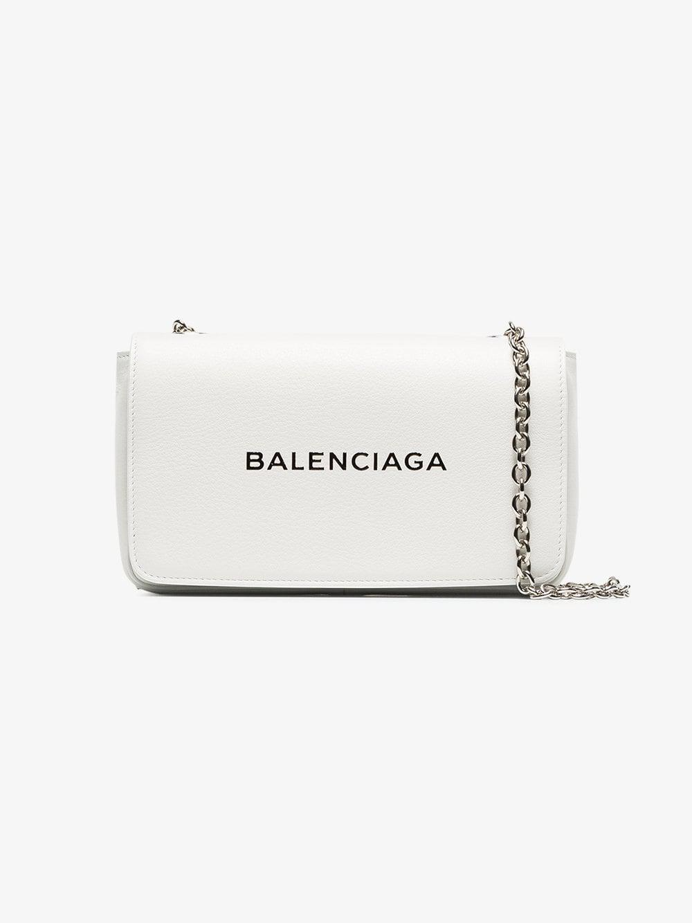 Balenciaga - White Everyday Small Leather Clutch On Chain - Lyst. View  fullscreen 654cdea0f02d4
