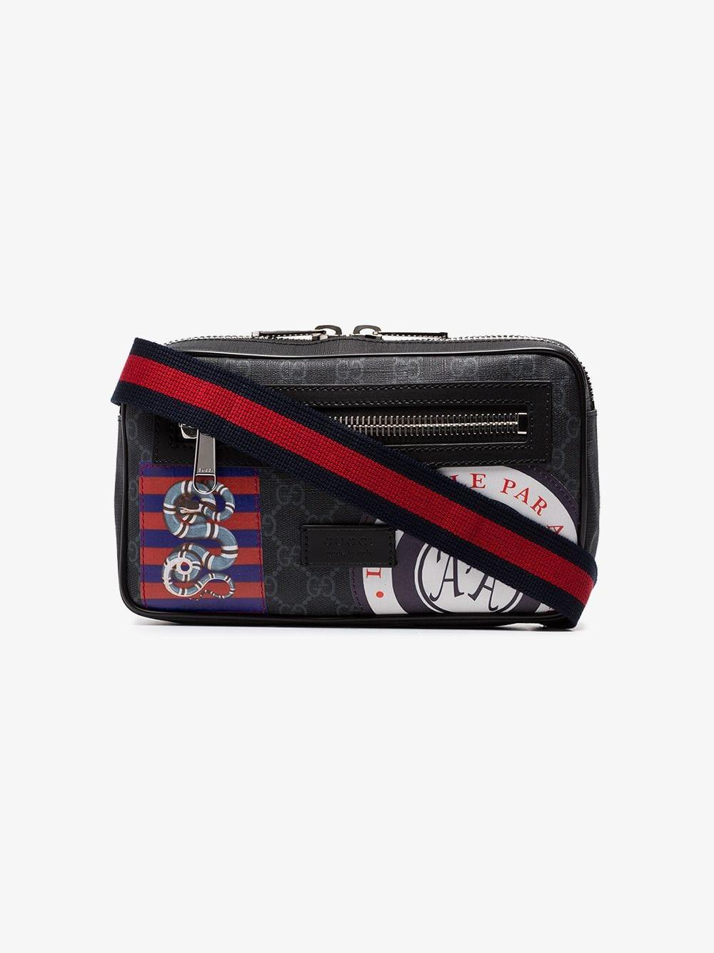 77cde5ae1909 Gucci Black Night Courrier Badge Embellished Crossbody Bag in Black ...