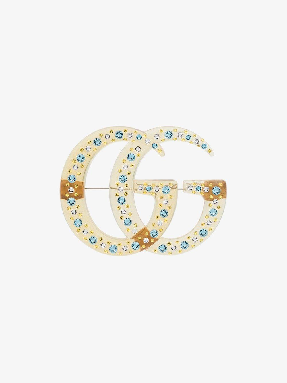 87449a58d00 Gucci GG Crystal Brooch in Yellow - Lyst