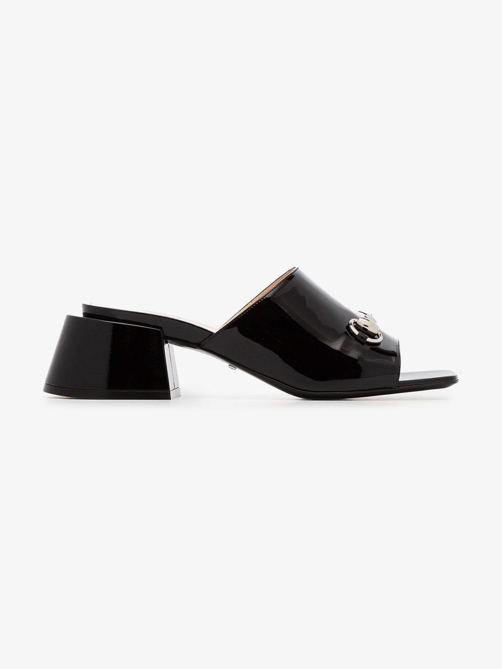 0120376e342 Gucci - Black Patent Leather Mid-heel Slide - Lyst. View fullscreen