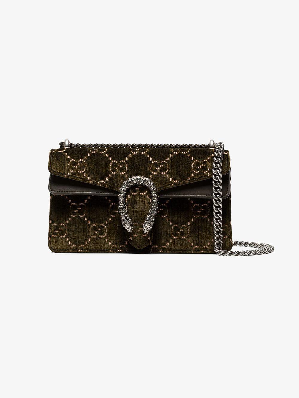 eddada9a9da2 Lyst - Gucci Green Dionysus GG Small Velvet Shoulder Bag in Green