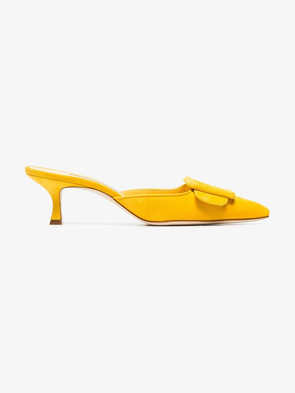 3213f960f845 Manolo Blahnik Yellow Maysale 50 Suede Mules in Yellow - Save 8% - Lyst