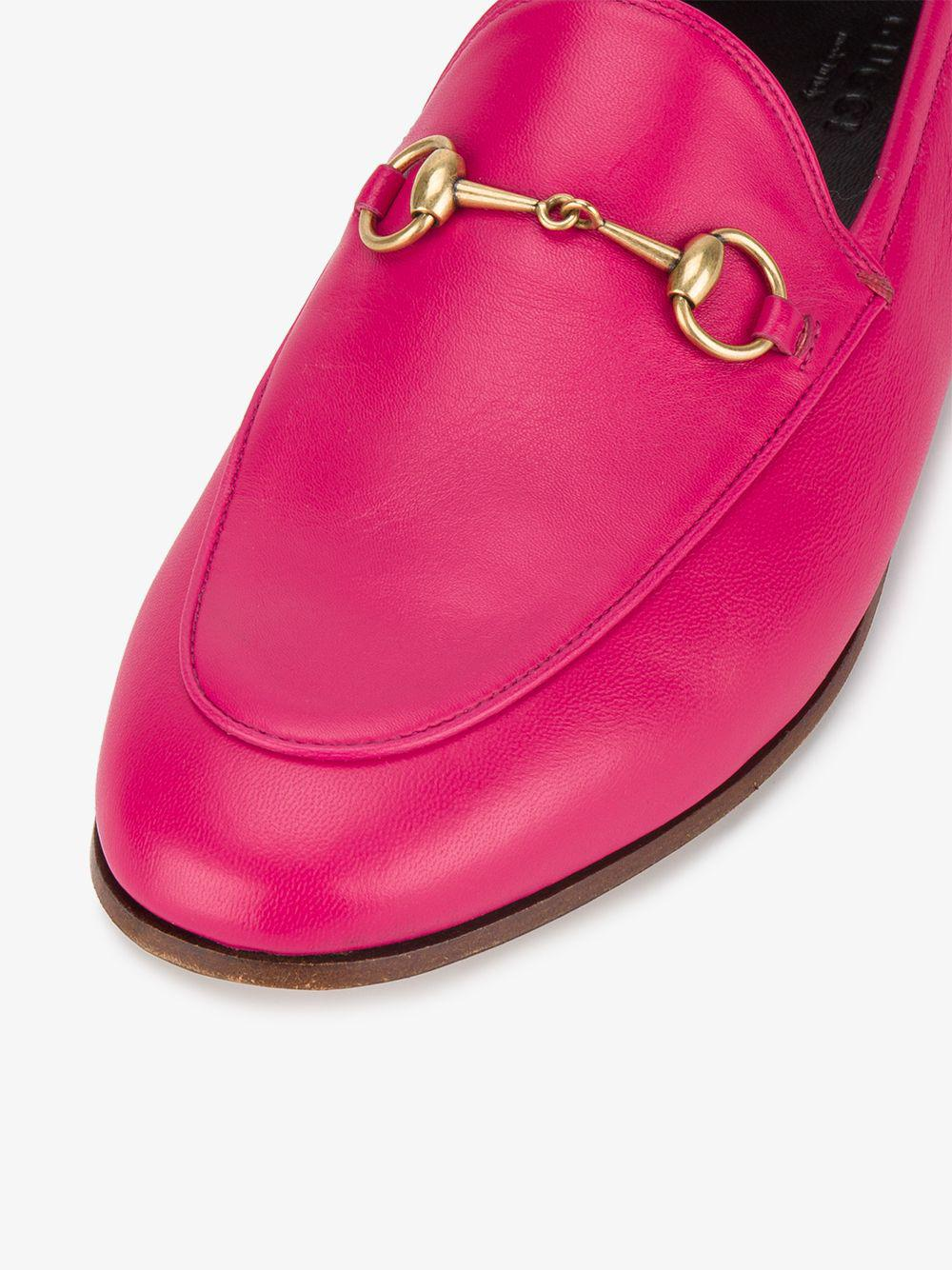35317654b77 Lyst - Gucci Fuchsia Pink Brixton Leather Loafers in Pink